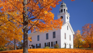 Country Church With Autumn Color Of Sugar Maples Greenfield, New Hampshire