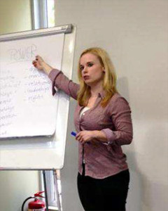 Tara delivering training in Bulgaria